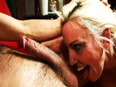 Blonde, Housewife, Over, Cock