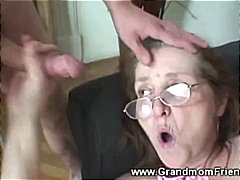 Threesome, From, Men, Granny, Grandma, Gets, Facial, Mature
