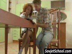 Bằng Miệng, Chụp Dưới Váy, Nhà Bếp, Tuổi Teen, Liếm, Liếm, Nga, Tóc Đỏ