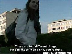 Czech, Streets, Brunette, Teen, College, Veronika, Reality, Public