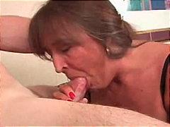 干老太, 肛交, 干中年妇女, 精液洗面奶, 射精, 干熟女, 肛交, 吹箫