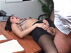 Pornoyje, Në Zyre, Latina, Të Ngushta, Rroba Najloni, Thell Në Fyt, Reale