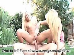 Cumshot, Outdoor, Fuck, Blonde, Lick, Suck, Blowjob, Threesome