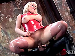 Latex, Caucasian, Fetish, Cum Shot, Shaved, Couple, Blowjob, Masturbation