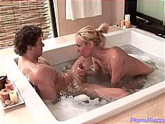 شقراوات, زوجان, حمام, مص