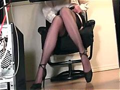 Secretary, Heels, Lingerie-Videos.com, Fingering, Fetish, Nylon, Stockings, Masturbation
