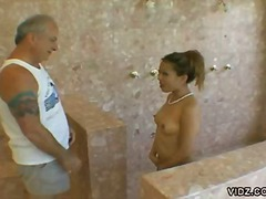 Pool, Asian, Old Man, Oral, Hardcore, Bathroom, Ball Licking, Blowjob