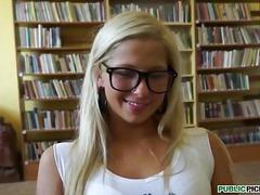 Facial, Natural-Boobs, Deepthroat, Petit, Handjob, Blowjob, Blonde, Glasses