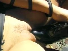 Ar Livre, Gostosa, Masturbação, Meia Fina, Couro
