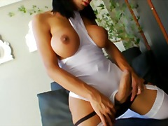 Solo, Cock-Riding, Shemale, Sabri, Big-Tits, Shaved, Masturbation, Stockings
