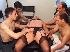 Fucking, Pussy, Sucking, Gangbang, Mature, Blonde