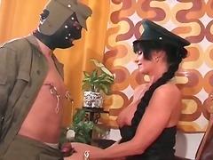Fetish, Big, Brunette, Uniform, Femdom, Spank, Tits, Milf