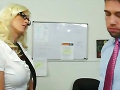 Busty, Office, Tits, Blonde, Naughty, Big, Cock, Shaved