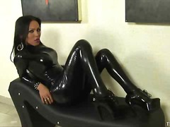 Shemale, Masturbation, Solo, Fetish, Latex, Brunette