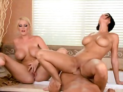 Blonde, Milk, Shaved, Big, Bathroom, Big Ass, Natural Boobs, Threesome