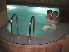 تجسس, زوجان, عرى, حمام السباحة, كاميرا مخفية