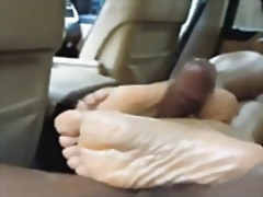 Footjob, Wife, Cum, Ebony, Jizz, Black