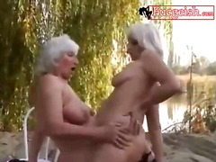 Fingering, Lesbian, Blonde, Mature, Lesbos, Beach, Outdoors