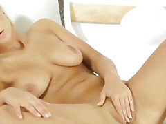 Strip, Blonde, Hair, Solo, Pussy, Thong, Tanned, Masturbation